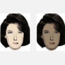 Light and dark skinned women's faces